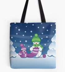 Knitting Snowman Tote Bag