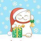 Weiße Weihnachtskatze von Natalia Linnik