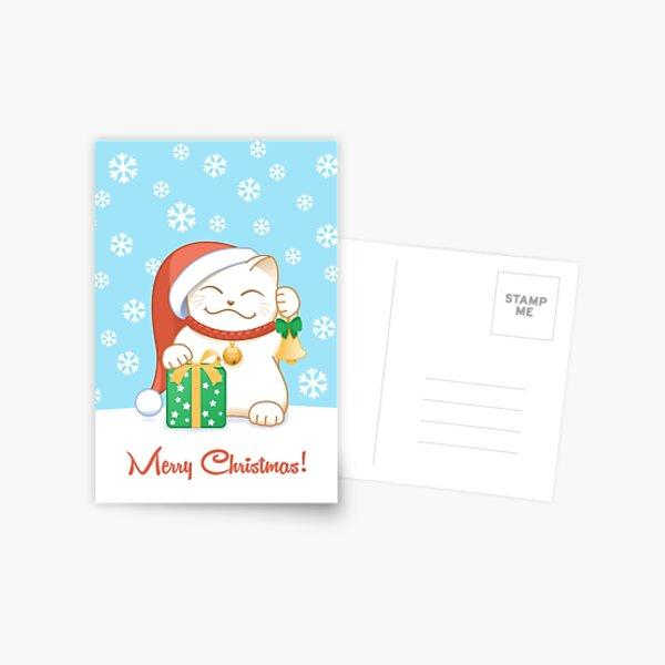 White Christmas Cat Postcard