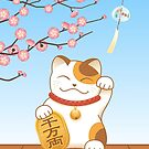 Japanische glückliche Katze, Calico Maneki Neko von Natalia Linnik