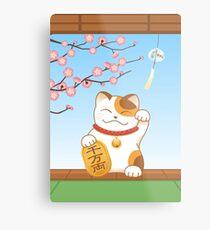 Japanese Lucky Cat, Calico Maneki Neko Metal Print