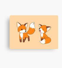 Cute Little Foxes Canvas Print