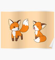 Cute Little Foxes Poster