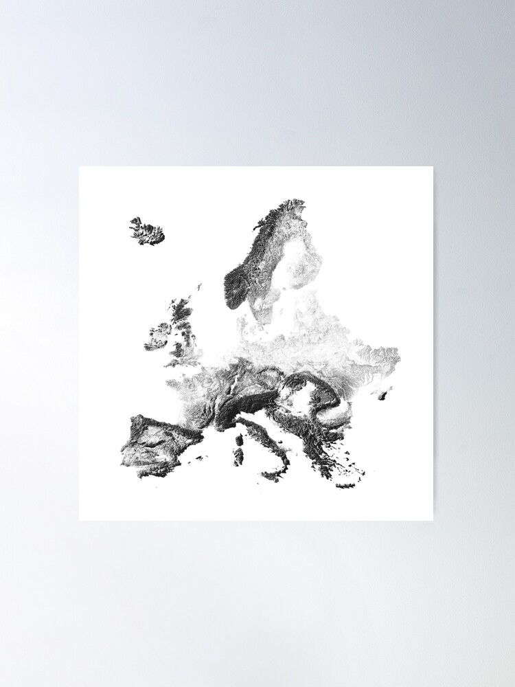 Alternate view of Europe mapped by sunset shadows Poster