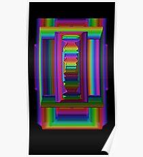 3D geometric techno neon rainbow stargate Poster