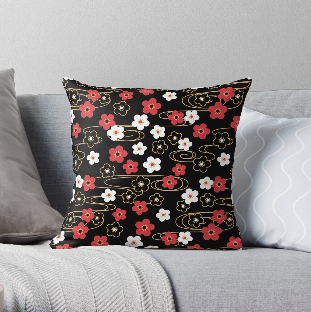 Japanese Black Sakura Cherry Blossom Flowers Throw Pillow