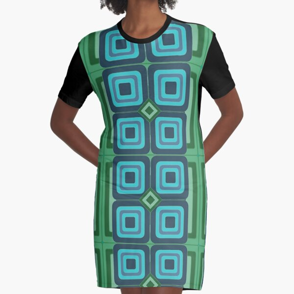 Panton Squares Blue And Green Graphic T-Shirt Dress
