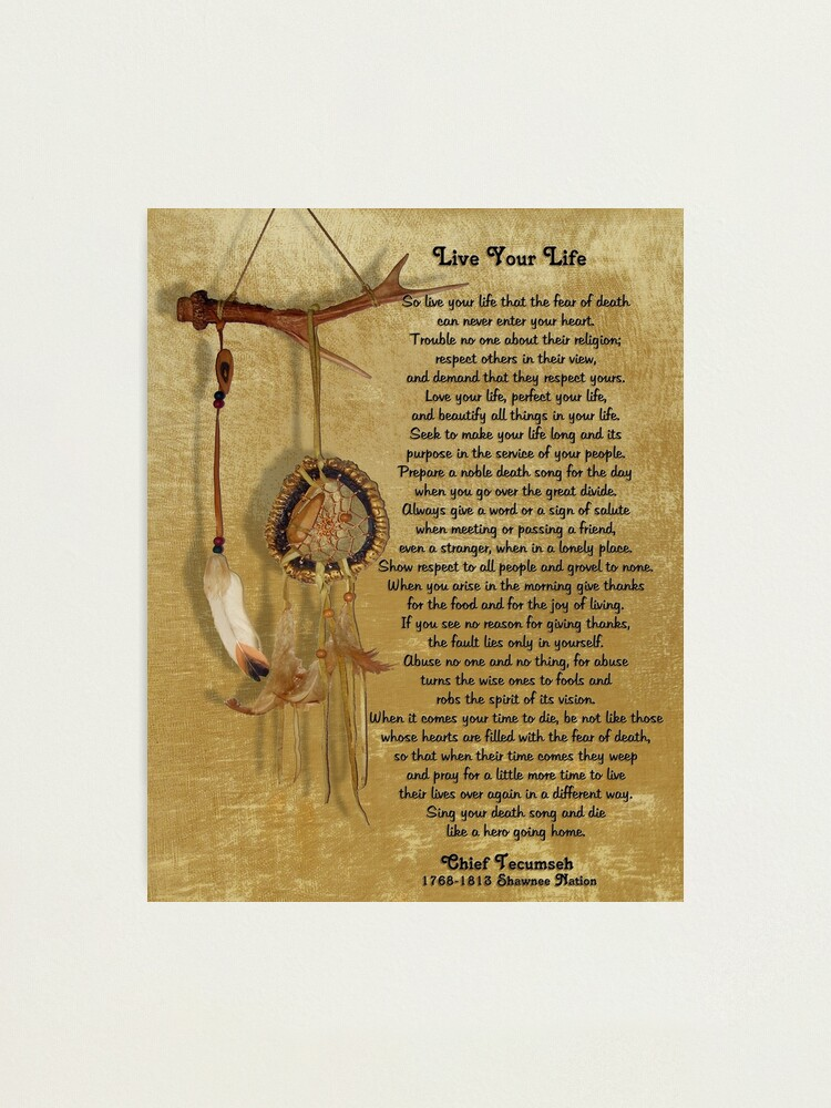 """Alternate view of """"Live Your Life""""  by Chief Tecumseh dream catcher Photographic Print"""