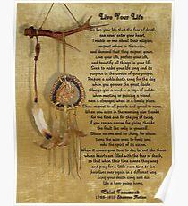 "Póster ""Live Your Life"" de Chief Tecumseh dream catcher"