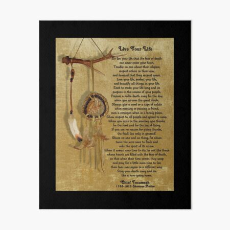 """""""Live Your Life""""  by Chief Tecumseh dream catcher Art Board Print"""
