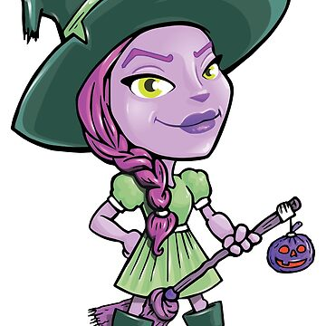 Purple Halloween Witch with Hat, Pumpkin, Broom by Jurzai