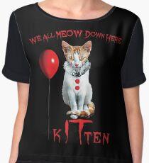 We All MEOW Down Here Clown Cat Kitten IT Halloween Funny Women's Chiffon Top