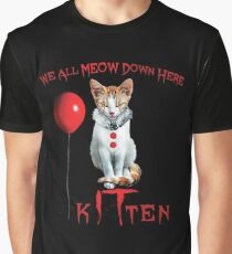 We All MEOW Down Here Clown Cat Kitten IT Halloween Funny Graphic T-Shirt