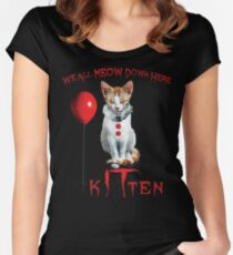 We All MEOW Down Here Clown Cat Kitten IT Halloween Funny Women's Fitted Scoop T-Shirt