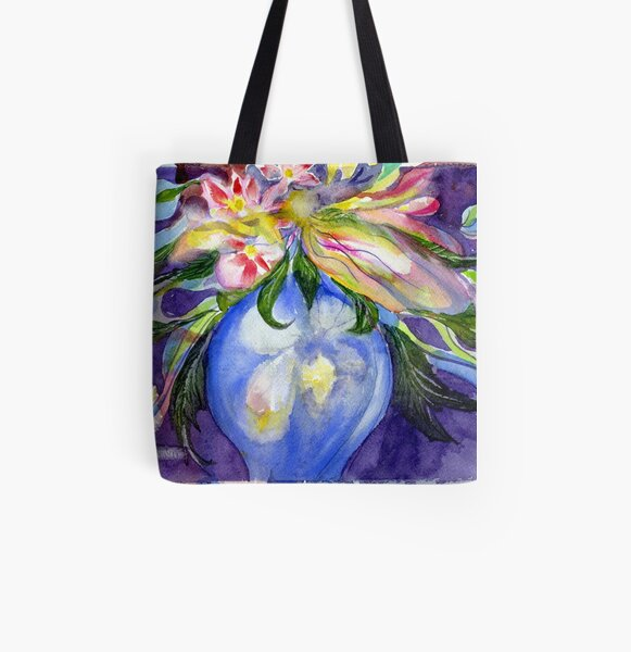 Blue Vase wildflowers All Over Print Tote Bag