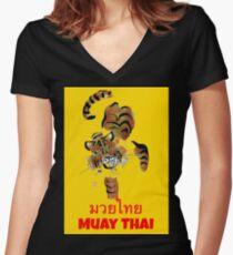 Muay Thai Tiger Women's Fitted V-Neck T-Shirt