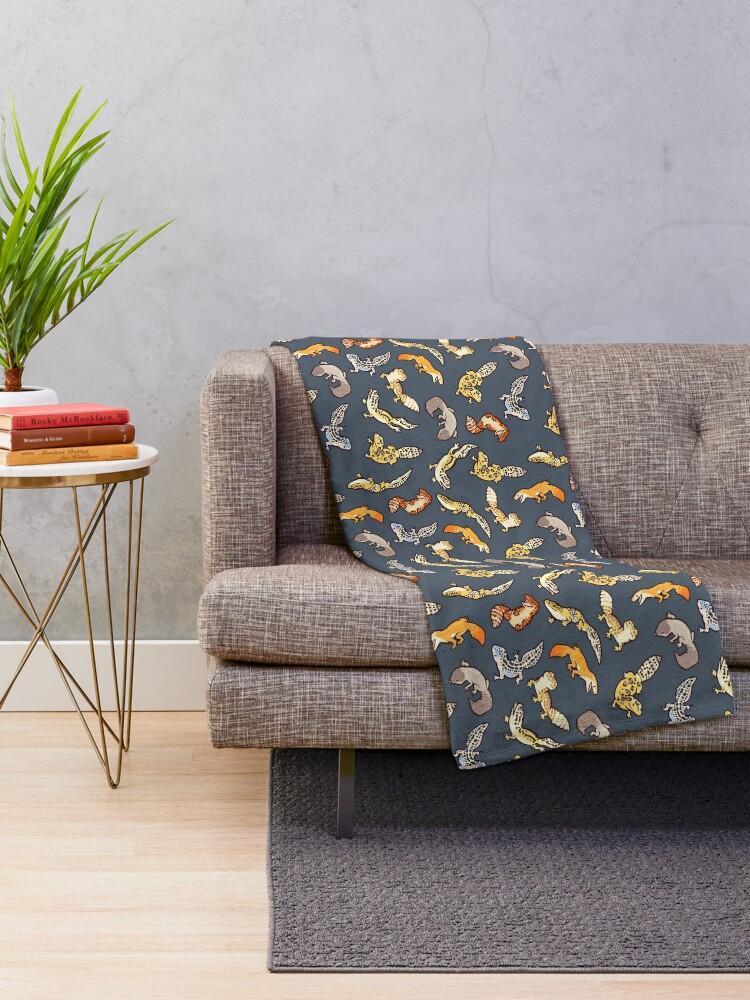 Alternate view of chub geckos in dark grey Throw Blanket