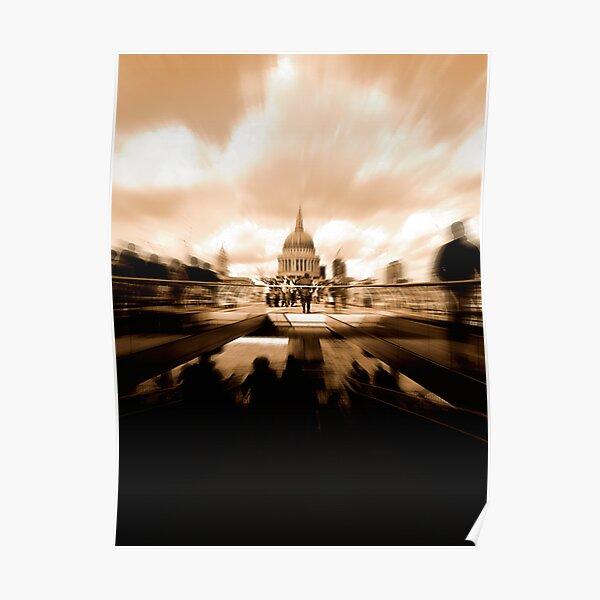 St Paul's Cathedral, across the Millennium Bridge. Poster