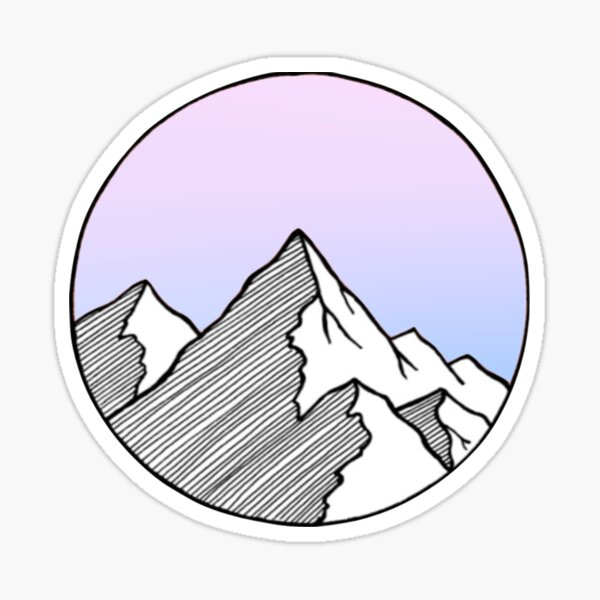 Mountains with Cool Color Gradient Sticker