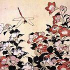'Chinesische Glockenblume und Libelle' von Katsushika Hokusai (Reproduktion) von RozAbellera