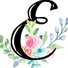 Girly Watercolor Floral Initial - E by Grafixmom