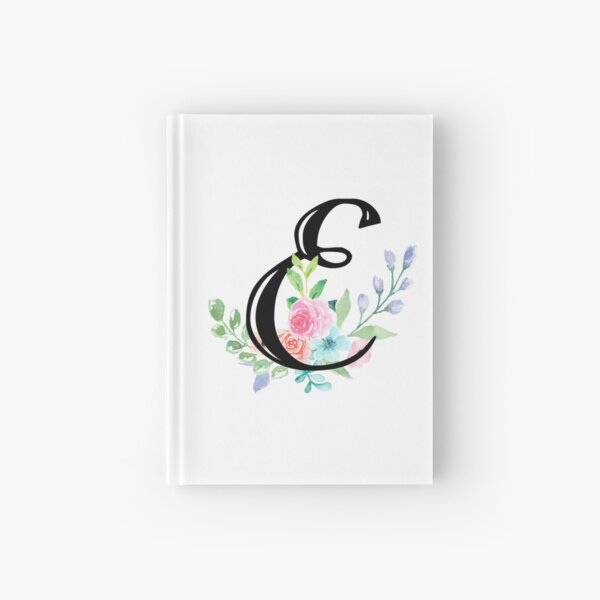 Girly Watercolor Floral Initial - E Hardcover Journal