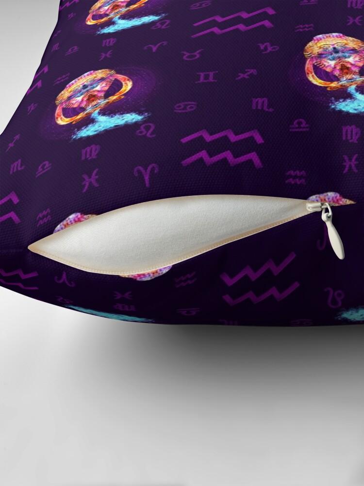 Alternate view of Aquarius Zodiac Lightburst - Tiled Throw Pillow