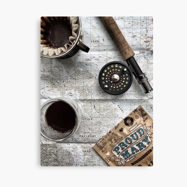 Coffee and Maps Series: PMC & Fly Rod Canvas Print