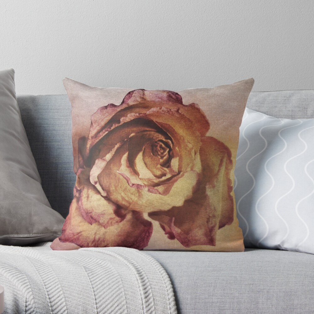Rose in Time - Flower Lovers - Vintage Dusty Pink Rose Art Throw Pillow