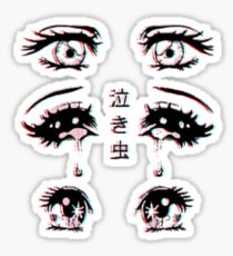 Crying Anime Eyes Digital Art Stickers
