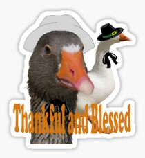 Thankful and Blessed Thanksgiving Pilgrims Sticker