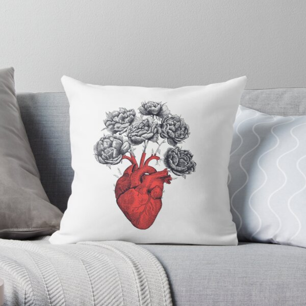 Heart with peonies Throw Pillow