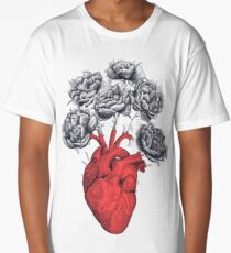 Heart with peonies Long T-Shirt
