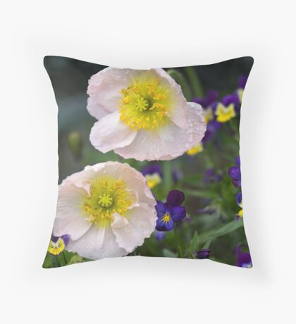 Poppies come in Twos Throw Pillow