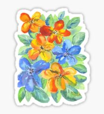 Watercolor Hand-Painted Orange Blue Tropical Flowers Sticker