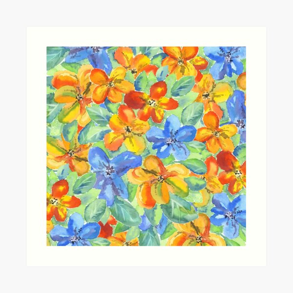 Watercolor Hand-Painted Orange Blue Tropical Flowers Art Print