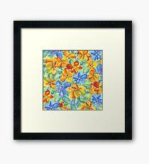 Watercolor Hand-Painted Orange Blue Tropical Flowers Framed Print