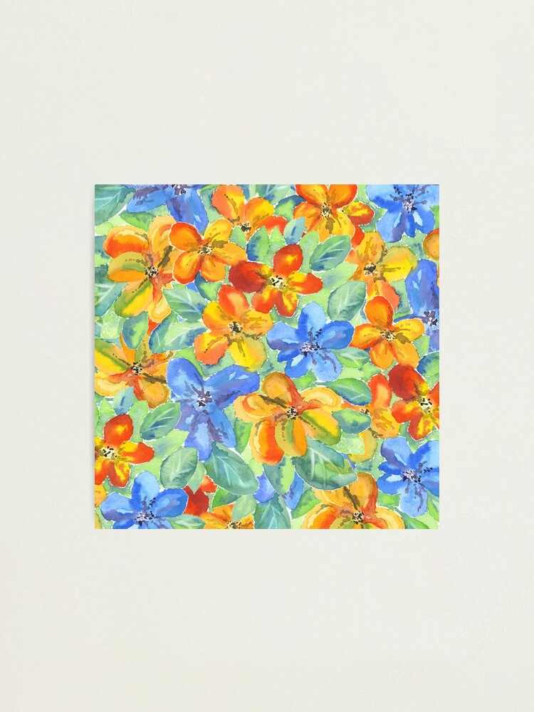 Alternate view of Watercolor Hand-Painted Orange Blue Tropical Flowers Photographic Print