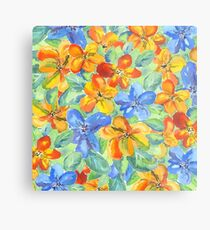 Watercolor Hand-Painted Orange Blue Tropical Flowers Metal Print