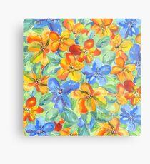 Watercolor Hand-Painted Orange Blue Tropical Flowers Metal Print