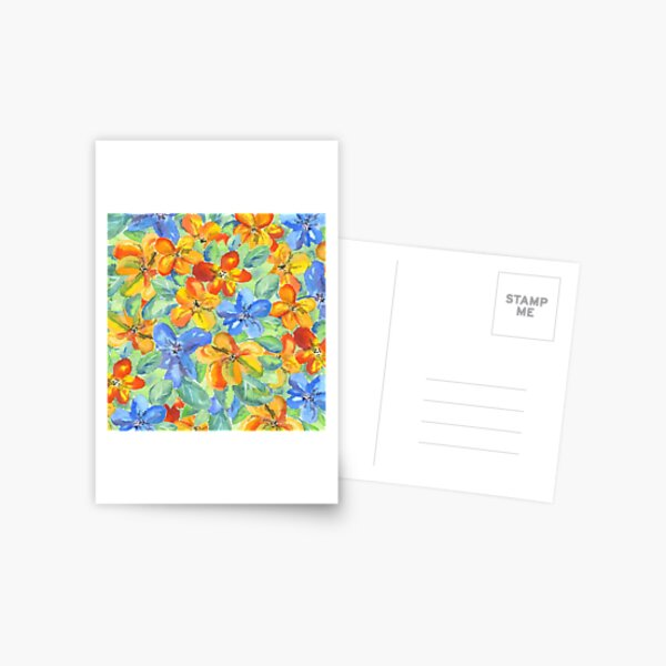 Watercolor Hand-Painted Orange Blue Tropical Flowers Postcard