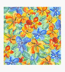 Watercolor Hand-Painted Orange Blue Tropical Flowers Photographic Print