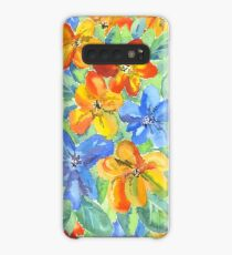 Watercolor Hand-Painted Orange Blue Tropical Flowers Case/Skin for Samsung Galaxy