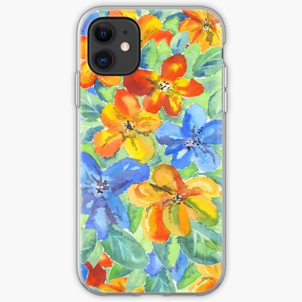 Watercolor Hand-Painted Orange Blue Tropical Flowers iPhone Soft Case