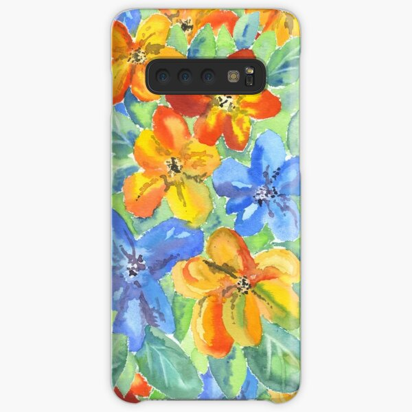 Watercolor Hand-Painted Orange Blue Tropical Flowers Samsung Galaxy Snap Case