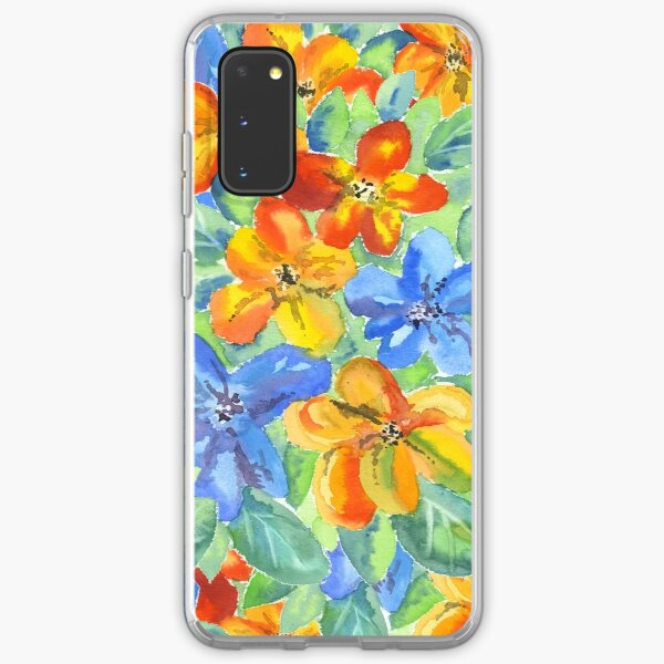 Watercolor Hand-Painted Orange Blue Tropical Flowers Samsung Galaxy Soft Case