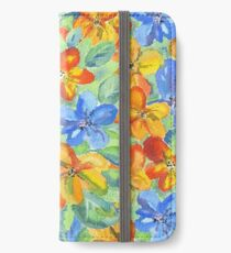 Watercolor Hand-Painted Orange Blue Tropical Flowers iPhone Wallet/Case/Skin