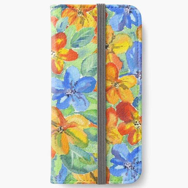 Watercolor Hand-Painted Orange Blue Tropical Flowers iPhone Wallet