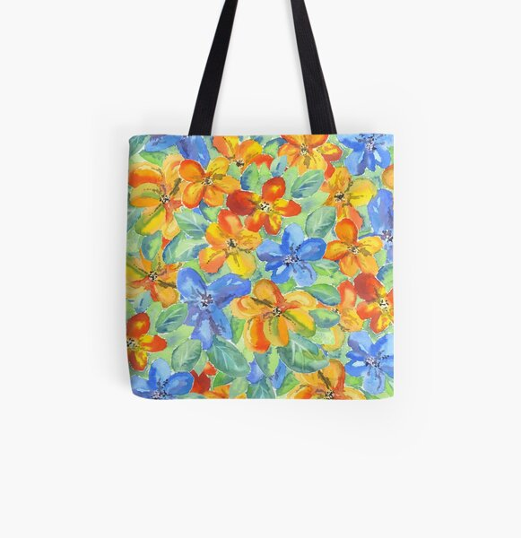 Watercolor Hand-Painted Orange Blue Tropical Flowers All Over Print Tote Bag