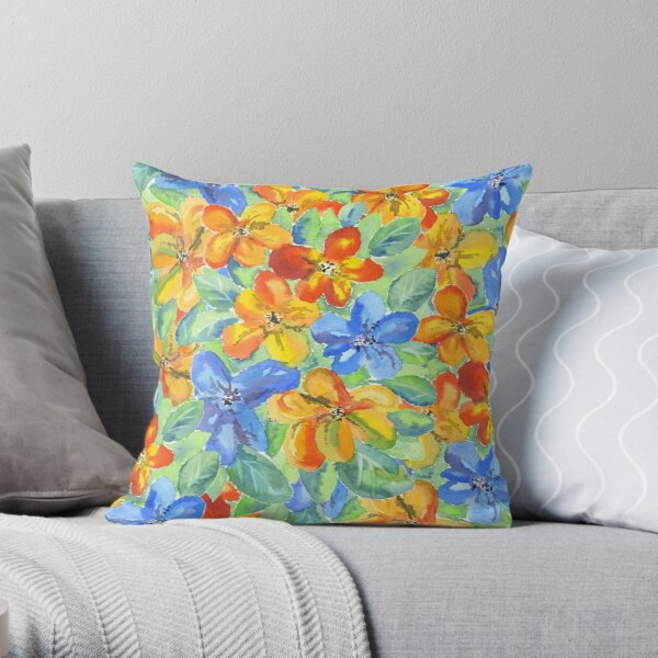 Watercolor Hand-Painted Orange Blue Tropical Flowers Throw Pillow